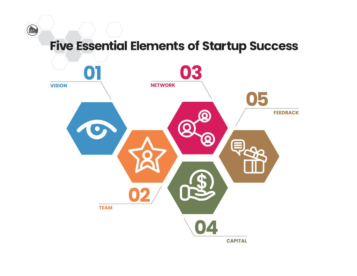 graphic showing five elements: vision, team, network, capital, feedback