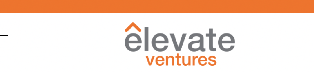 Elevate Ventures logo with orange bar on top